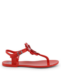 Red flower Y-strap sandals