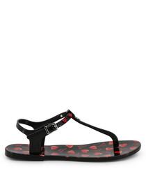 Black heart Y-strap sandals