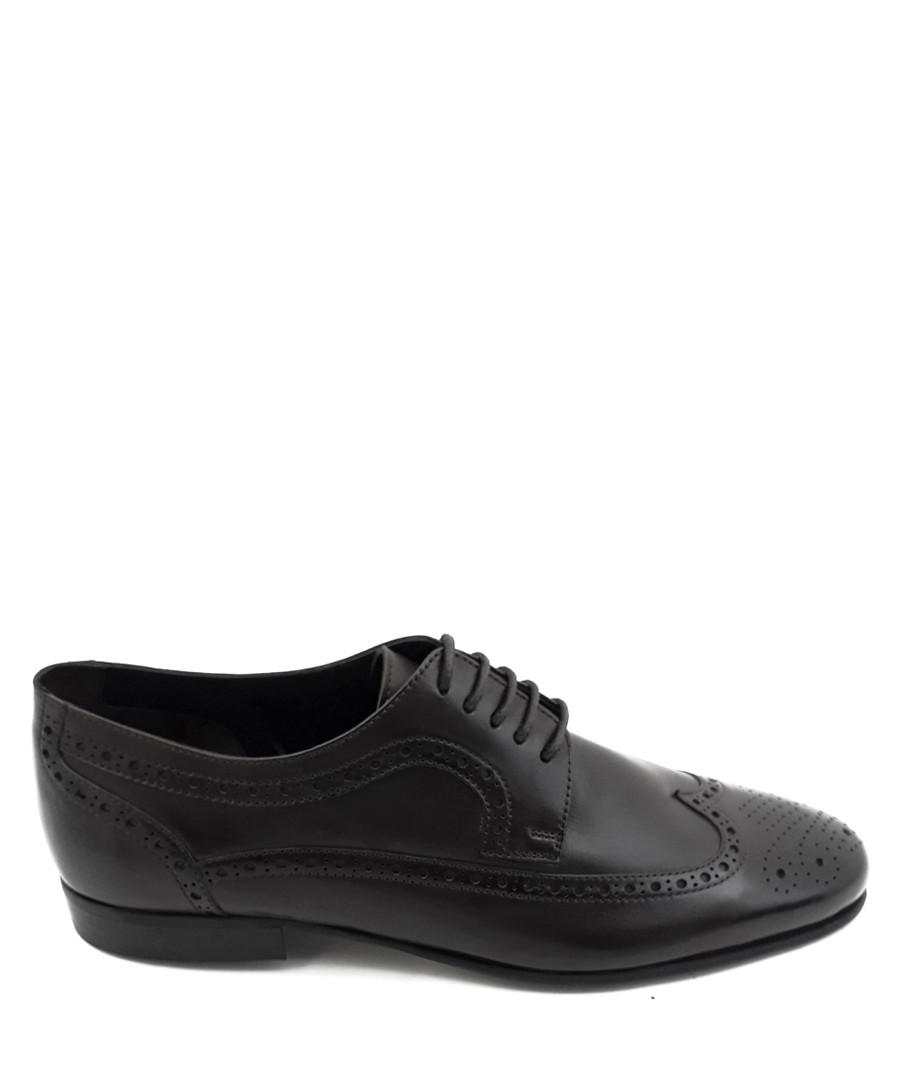 Black leather brogue Derby shoes Sale - torento
