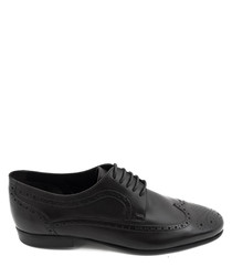 Black leather brogue Derby shoes