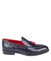 black & red leather tassel loafers