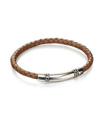 tan leather & sterling silver bracelet