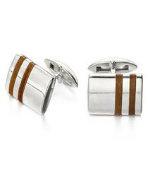 Tiger's Eye & sterling silver cufflinks