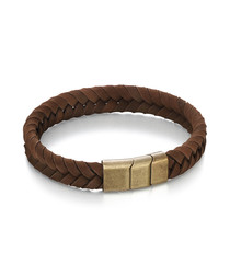 brown leather & stainless steel bracelet
