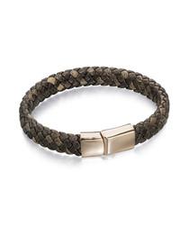 khaki leather & stainless steel bracelet