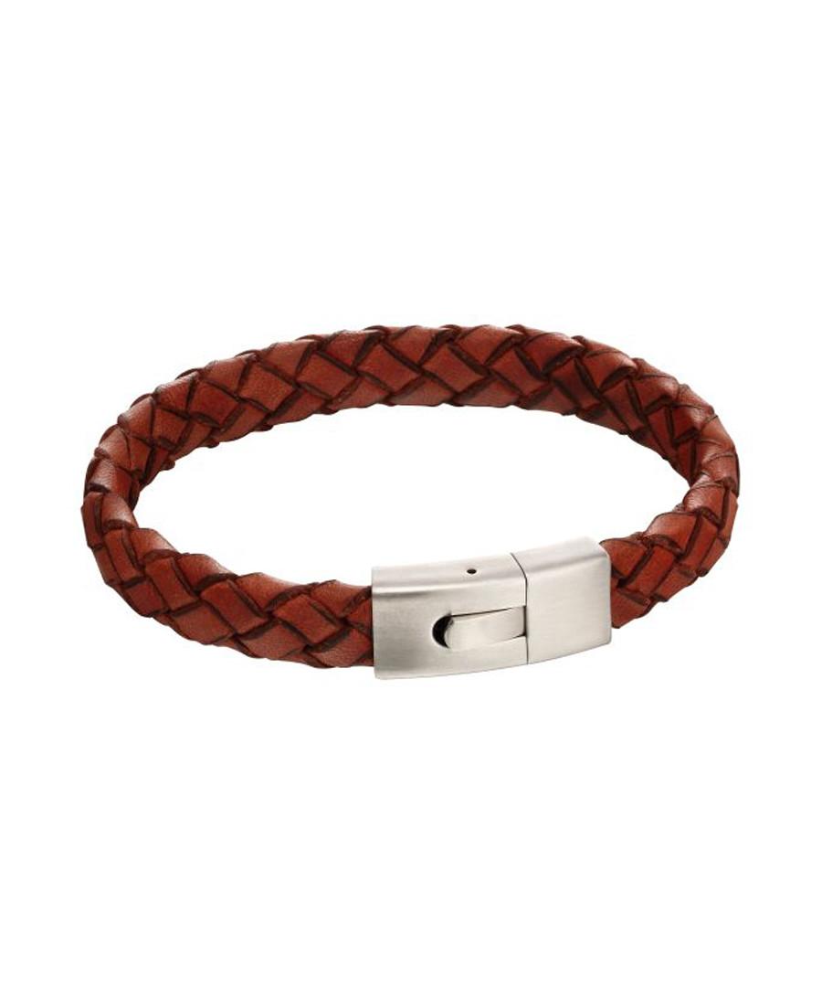 Brown leather & stainless steel bracelet Sale - fred bennett