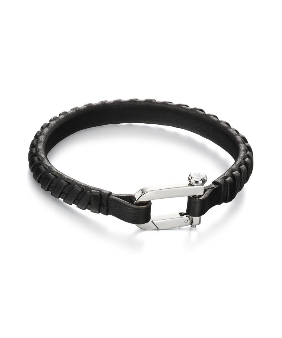 plaited black leather & steel bracelet Sale - fred bennett