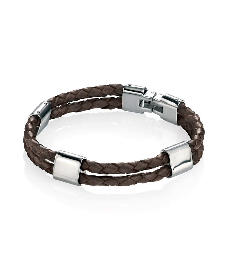 brown leather & stainless steel bracelet Sale - fred bennett