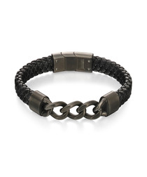 black leather & stainless steel bracelet