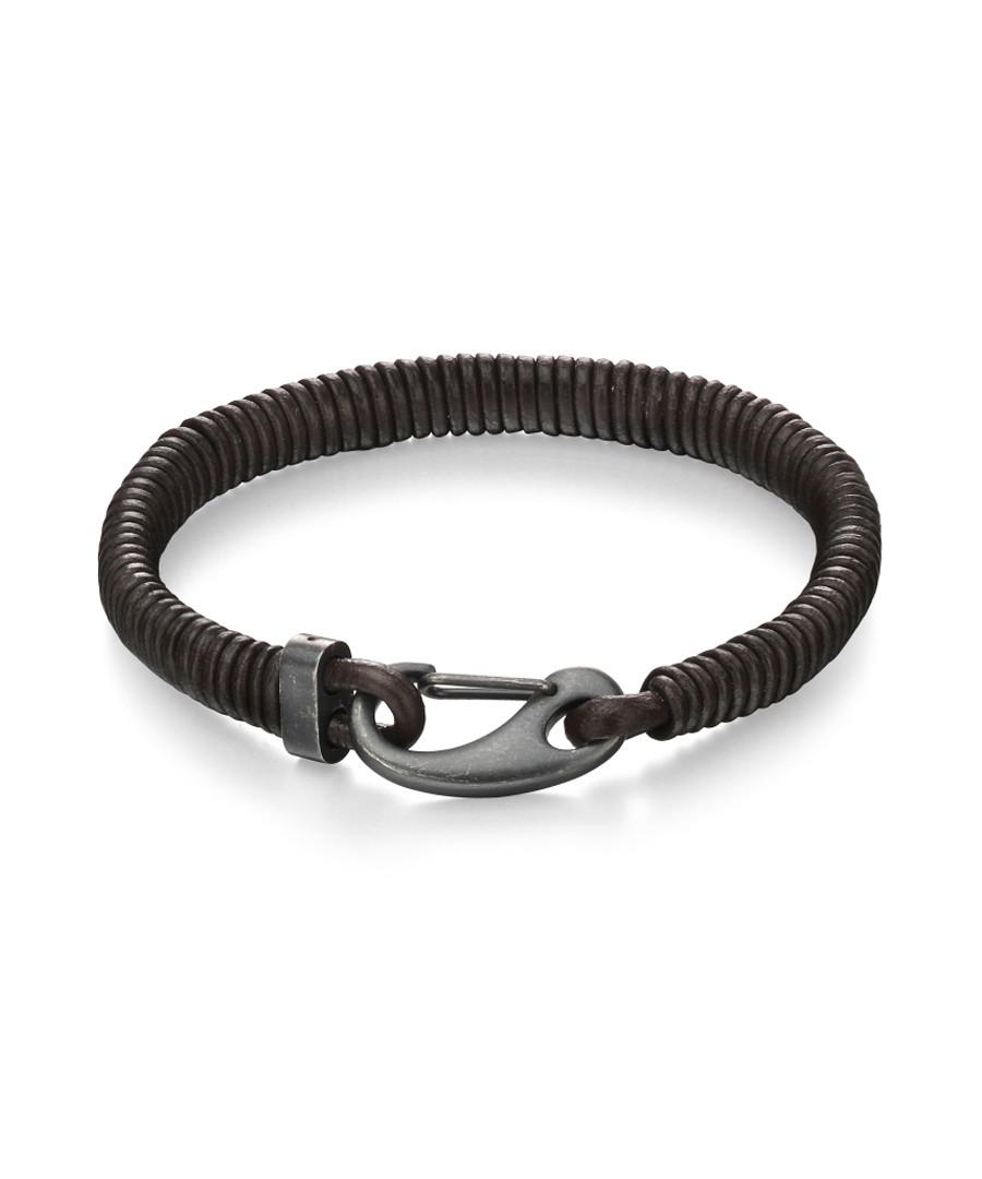 walnut leather & steel clasp bracelet Sale - fred bennett