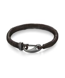 walnut leather & steel clasp bracelet
