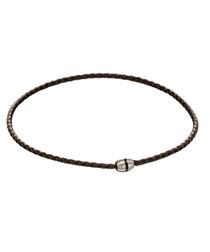 brown leather & steel minimal bracelet