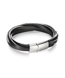 black leather twist bracelet