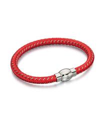 red leather & steel bracelet