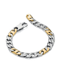 gold-plated steel link bracelet