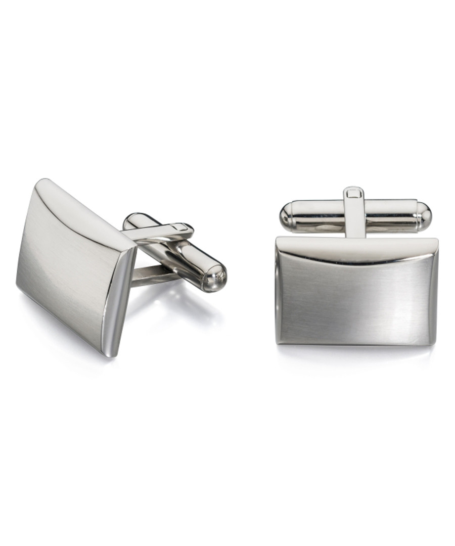 brushed steel rectangle cufflinks Sale - fred bennett