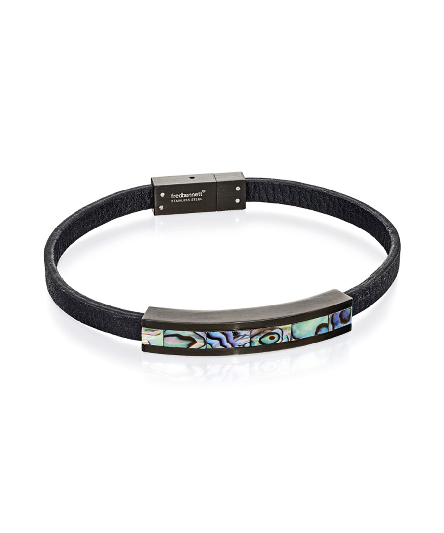 Paua shell & black leather bracelet Sale - fred bennett