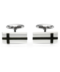 black stainless steel cross cufflinks