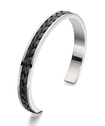 stainless steel & black leather bangle