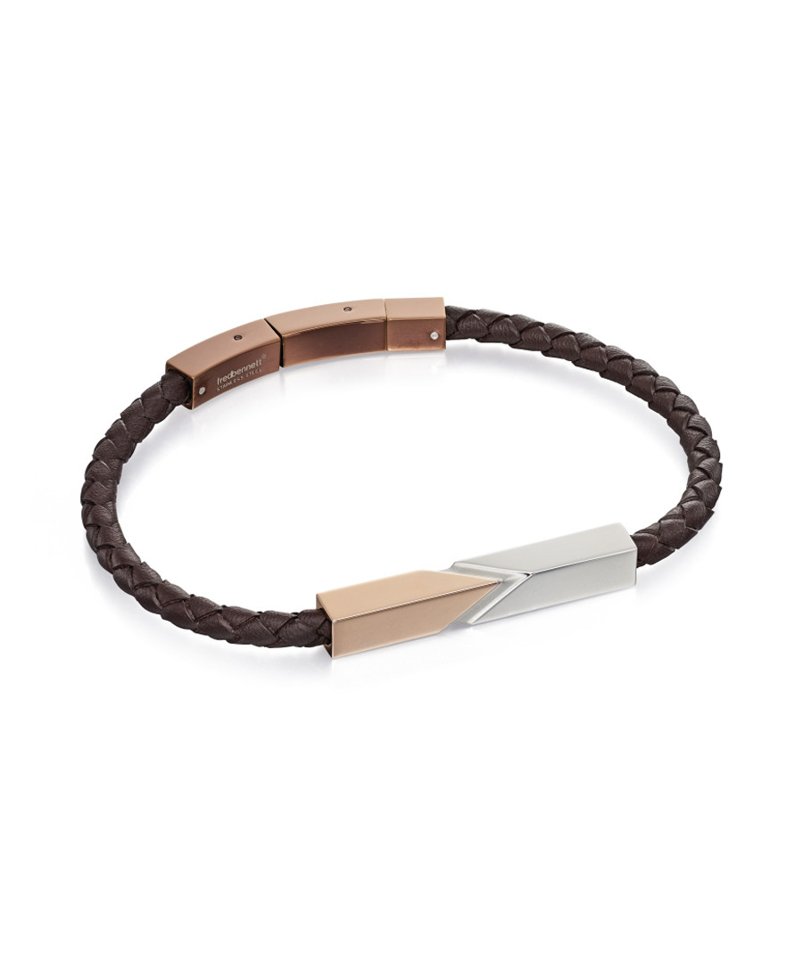 stainless steel & brown leather bracelet Sale - fred bennett