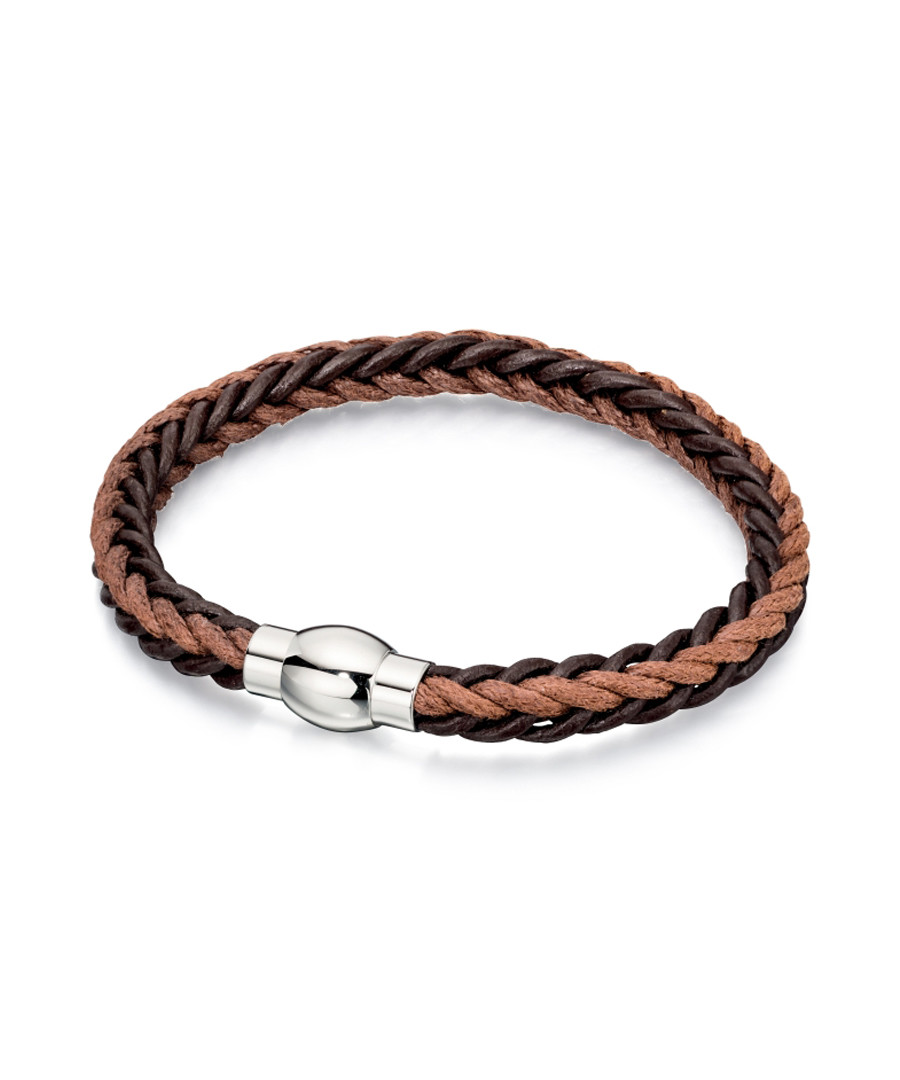 tan & black leather bracelet Sale - fred bennett