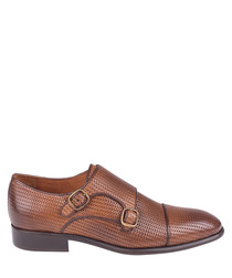 tan leather textured monk shoes