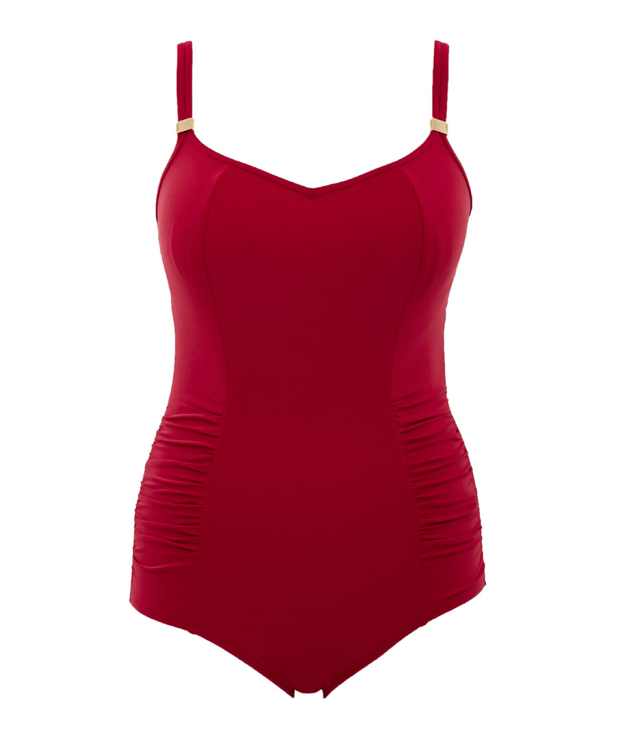 Anya red ruched swimsuit Sale - panache