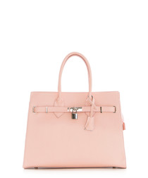 Monte Amaro pink leather shopper bag