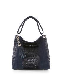 Botte Donato dark blue leather shopper