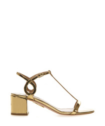 Almost Bare gold-tone leather sandals
