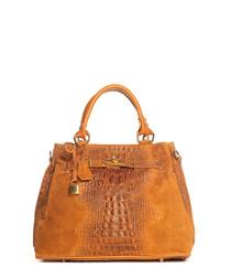 Tan moc-croc leather shopper bag