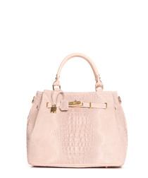 Blush moc-croc leather shopper bag