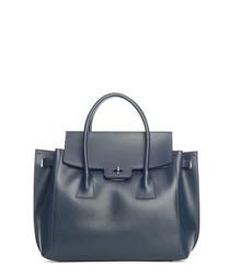 Pomarance dark blue leather shopper