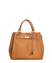 Panaro tan leather shopper