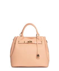 Panaro pink leather shopper