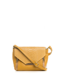 Gorgone yellow leather crossbody