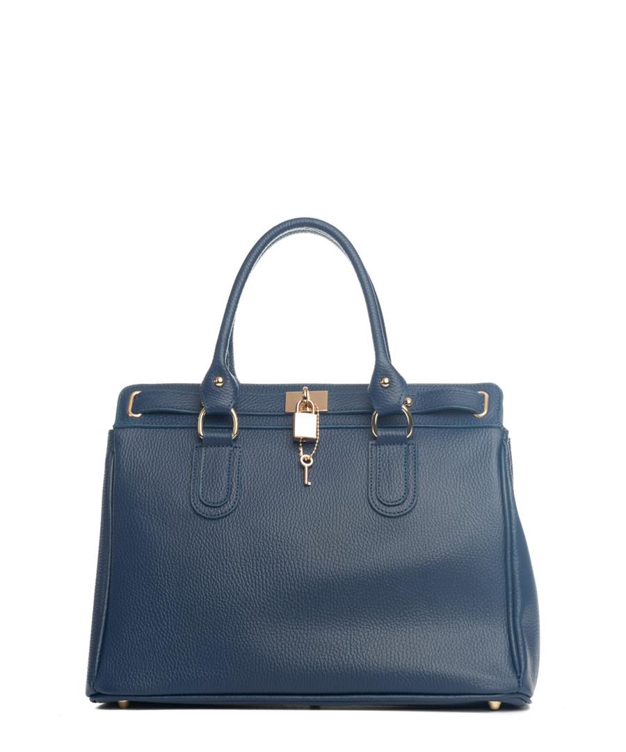 Nure dark blue leather shopper Sale - lia biassoni