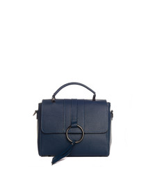 Sesia blue leather crossbody