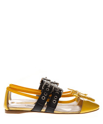 Yellow PVC & leather buckle slippers