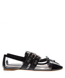 Black PVC & leather buckle slippers
