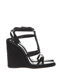 Cassandra black leather wedge sandals