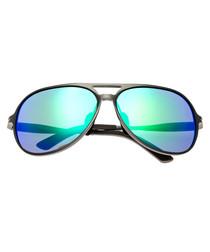 Earhart gunmetal & blue pilot sunglasses