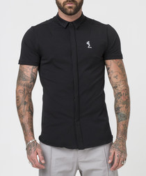 Magnus black cotton short sleeve shirt