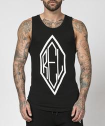 logo black pure cotton vest