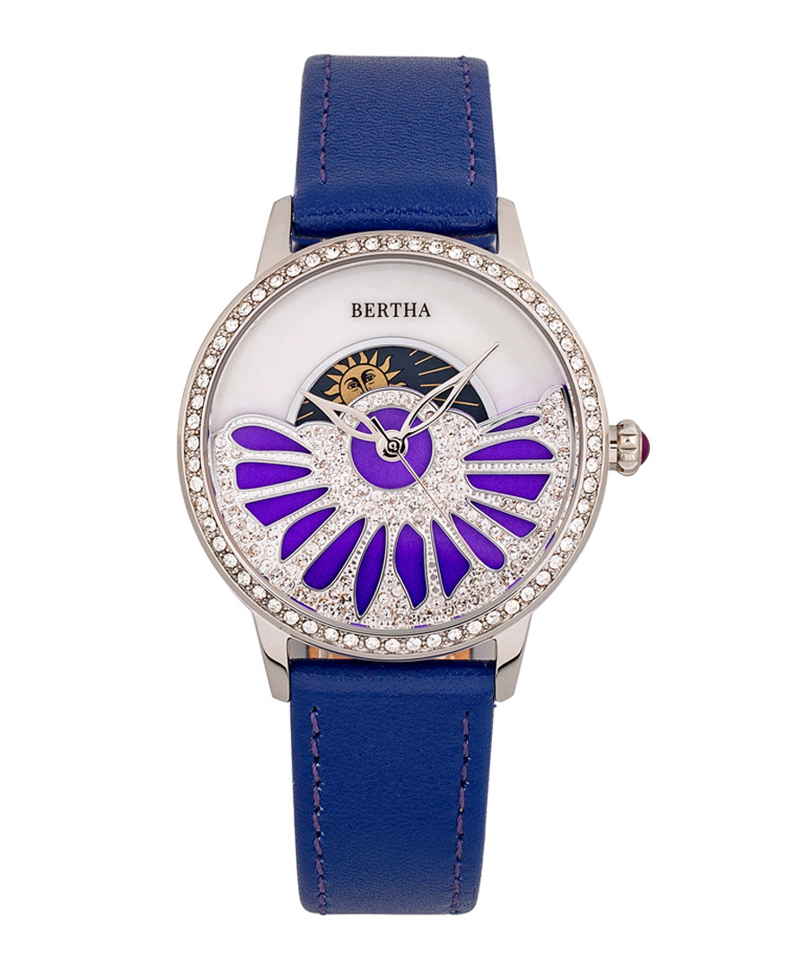 Adaline purple leather half-dial watch Sale - bertha