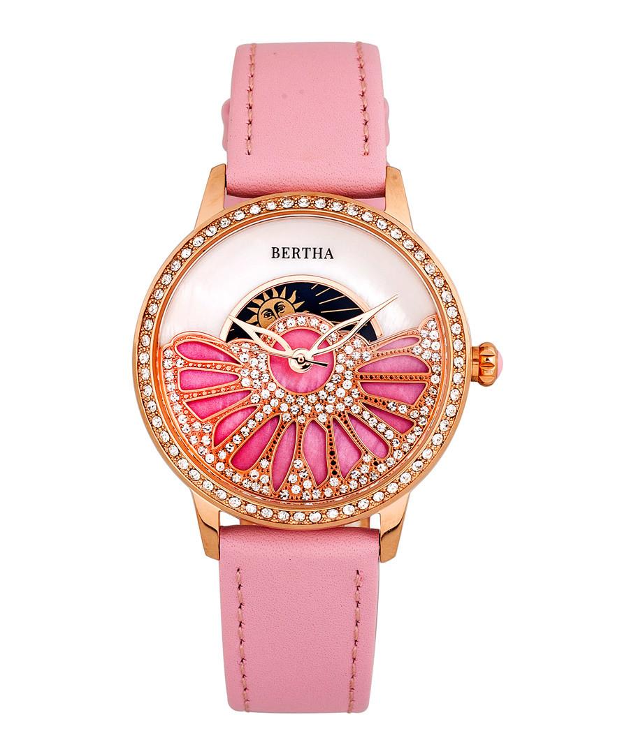 Adaline rose leather half-dial watch Sale - bertha