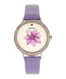 Delilah lavender leather flower watch
