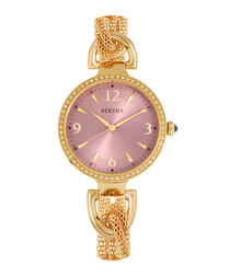 Sarah gold-tone & mauve twisted watch