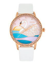 Grace white leather swan watch