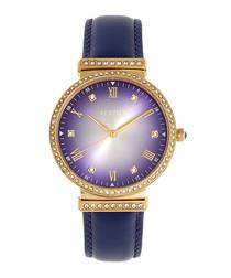 Allison gold-tone & purple leather watch